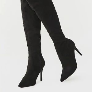 NWT- Forever 21 over the knee black heel boots